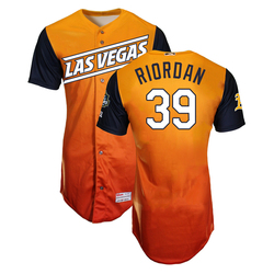 Photo of Fran Riordan #39 Las Vegas Aviators 2019 Road Alternate Jersey