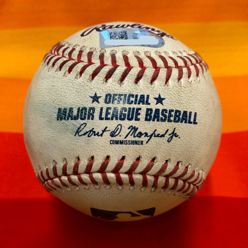 Photo of Game-Used Baseball 7/25/20 Astros Vs. Mariners: Brennan to Gurriel and Correa (Seven Pitches)