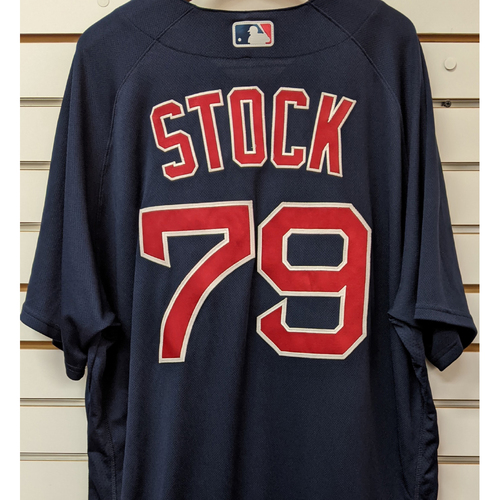 Photo of Robert Stock #79 Team Issued Nike Navy Road Alternate Jersey