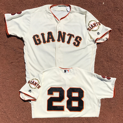 Photo of San Francisco Giants - Game-Used Jersey - Buster Posey - Worn on 7/10/16 - 3 for 4, RBI, R - Giants Win 4-0 - Jersey Size - 46