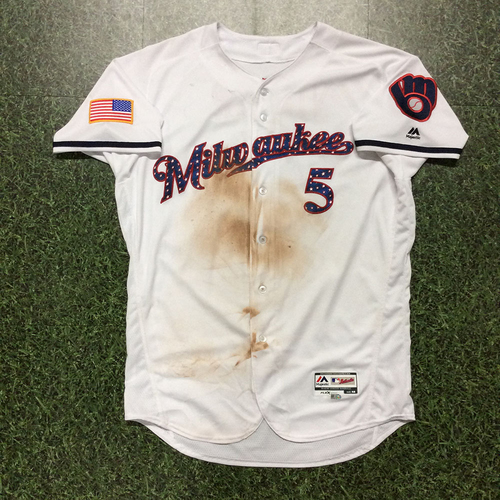 Photo of Jonathan Villar 2017 Game-Used Stars and Stripes Jersey