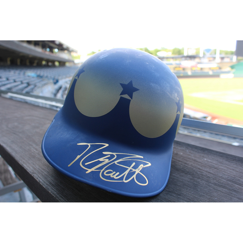 Photo of Game-Used and Autographed Turn Ahead The Clock Batting Helmet: Mike Moustakas (Size 7 3/8 - Innings 7 & 9 - KC @ SEA - 6/30/18)