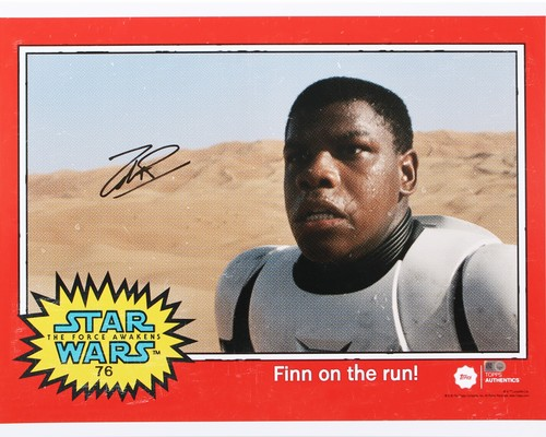 John Boyega as FN-2187 16x20 Autographed in Black Ink Photo - 1977 Topps Design