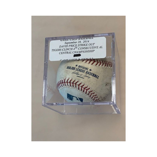 Photo of David Price Strikeout Game-Used Baseball: Tigers Clinch 4th Consecutive AL Central Championship