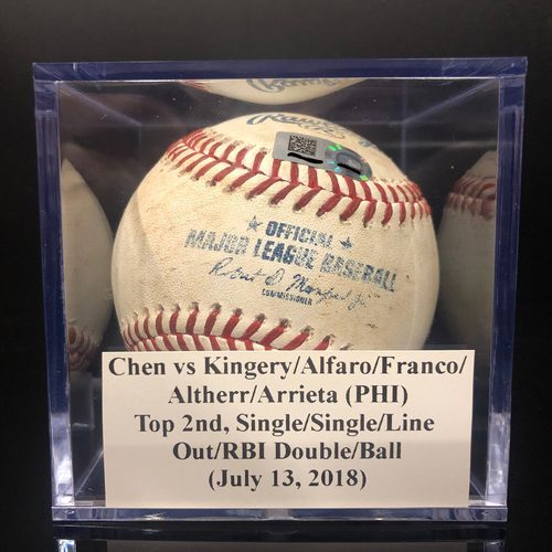 Photo of Game-Used Baseball:  Chen vs Kingery/Alfaro/Franco/Altherr/Arrieta (PHI), Top 2nd, Single/Single/Line Out/RBI Double/Ball (July 13, 2018)