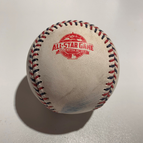 Photo of 2018 All Star Game - Game Used Baseball - Batter: Mike Trout Pitcher: Max Scherzer - Foul