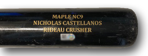 Photo of Nick Castellanos Game-Used Cracked Bat -- Steven Brault to Nick Castellanos, Ground Out, Top 6 -- Cubs at Pirates -- 8/17/19