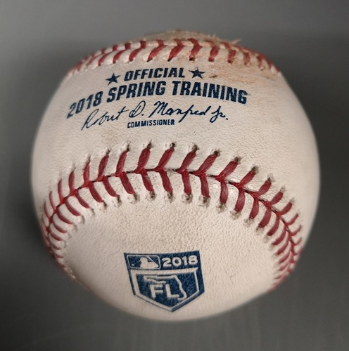 Photo of Authenticated Game Used Baseball - Strikeout by Aaron Loup against Jose Adolis Garcia (Mar 26, 18 vs STL). Top 6. Spring Training in Montreal.