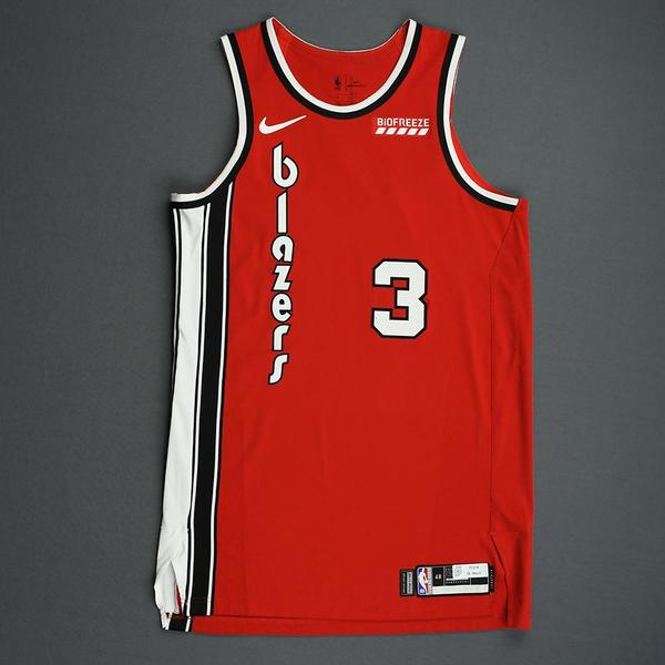 Image of CJ McCollum - Portland Trail Blazers - Game-Worn Classic Edition 1975-77 Road Jersey - 2019-20 NBA Season