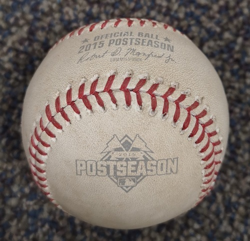 Photo of Authenticated Game Used Postseason Baseball - Pitch in the Dirt by Chris Young against Josh Donaldson (ALCS Game 4: Oct 20, 15 vs KCR). Bottom 3.