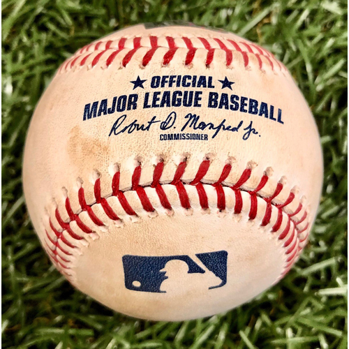 Photo of Game Used Baseball: Noe Ramirez strikes out Avisail Garcia - Shohei Ohtani Cycle Game - June 13, 2019 v LAA