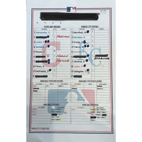 Photo of Game-Used 2020 Line-Up Card - Choose Your Game Date!