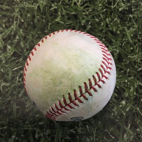 Photo of Game-Used Opening Day Baseball MIN@MIL 04/01/21 - Brandon Woodruff - Max Kepler: RBI Single