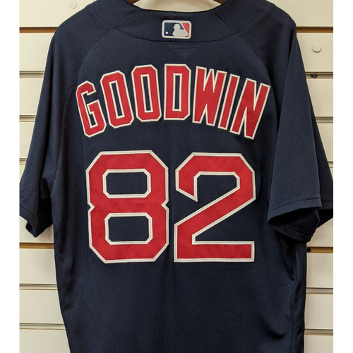 Photo of Coach Tom Goodwin #82 Team Issued Nike Navy Road Alternate Jersey