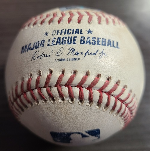 Photo of Authenticated Game Used Baseball: Single by Enrique Hernandez against Hyun Jin Ryu (Aug 8, 2021 vs BOS). Top 2.