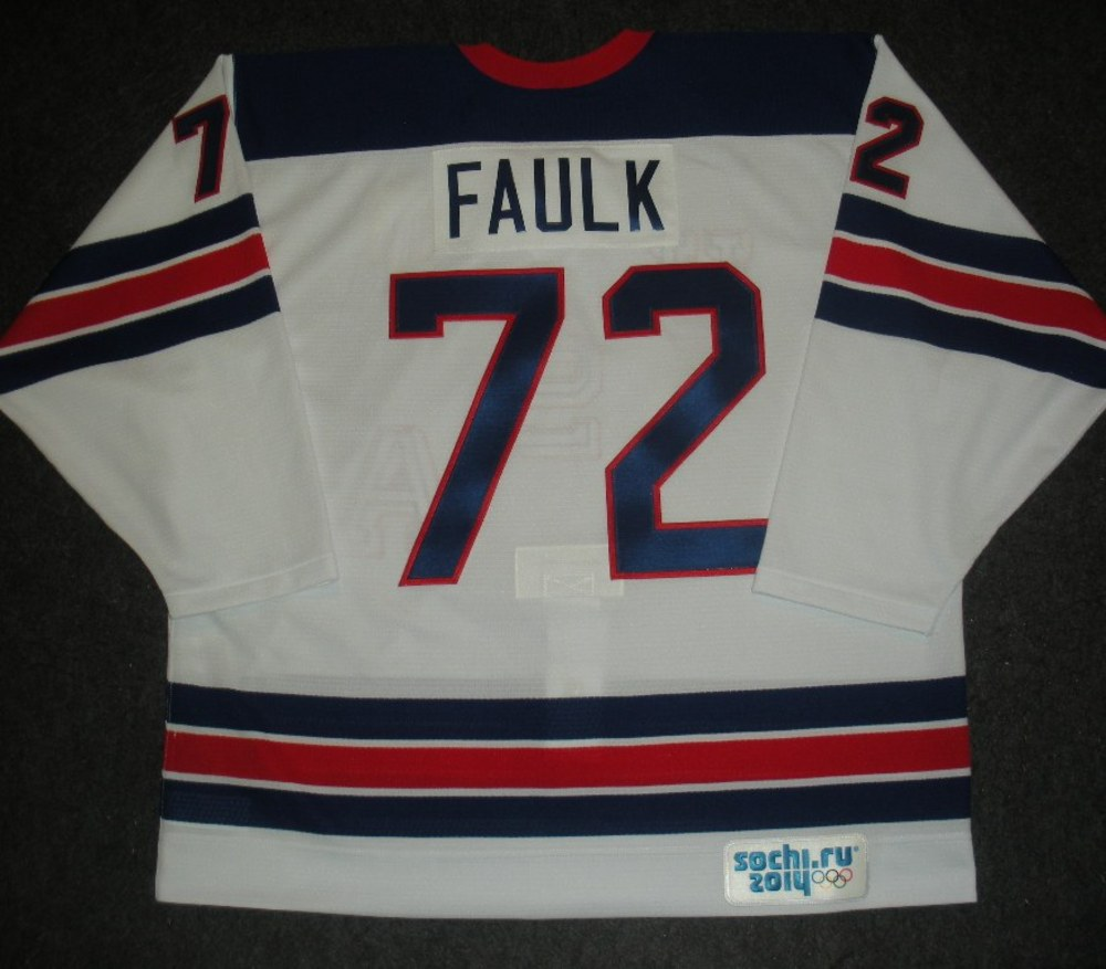 Justin Faulk - Sochi 2014 - Winter Olympic Games - Team USA Throwback Game-Issued Jersey - Warmups and 1st Period vs. Slovenia, 2/16/14