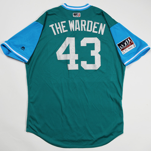 "Photo of Adam ""The Warden"" Warren Seattle Mariners Game-Used Players' Weekend Jersey"