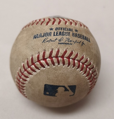 Photo of Authenticated Game Used Baseball - Domingo Santana Double against Marcus Stroman (April 12, 2017 vs MIL). Top 2.