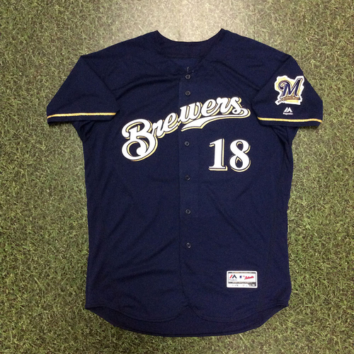 Photo of Mike Moustakas 2018 Team-Issued Navy Alternate Jersey
