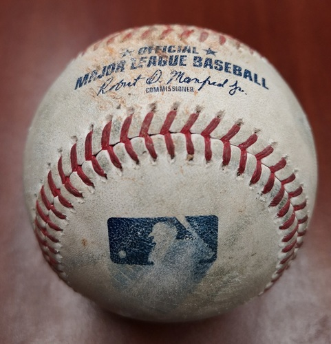 Photo of Authenticated Game Used Baseball - Strikeout by Tim Mayza against Jonathan Schoop (May 8, 2019 vs MIN). Top 7.