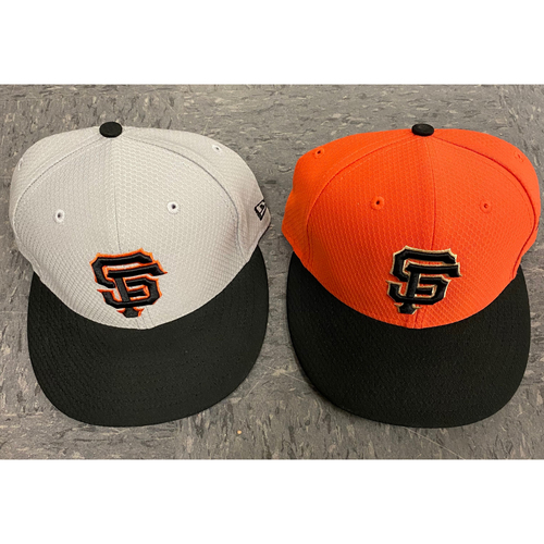 Photo of 2019 Team Issued Used Orange Bating Practice Cap worn by #9 and Team Issued Grey Batting Practice Cap - size 7 1/8