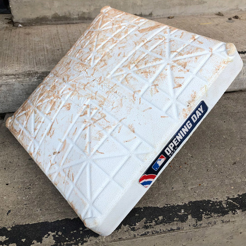 Photo of Game Used Base - 2020 Opening Day - 3rd Base, Innings 7-9 - Mets Earn First Win of 2020- Mets vs. Braves - 7/24/20