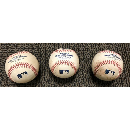 Mookie Betts 9/10/20 Game-Used Baseball 3-Pack -- (Pitcher was Riley Smith) Ball 1: Pitch 3, Ball in Dirt, Ball 2: Pitch 4, Ball, Ball 3: Pitch 7, Slider (On-Field Delay)