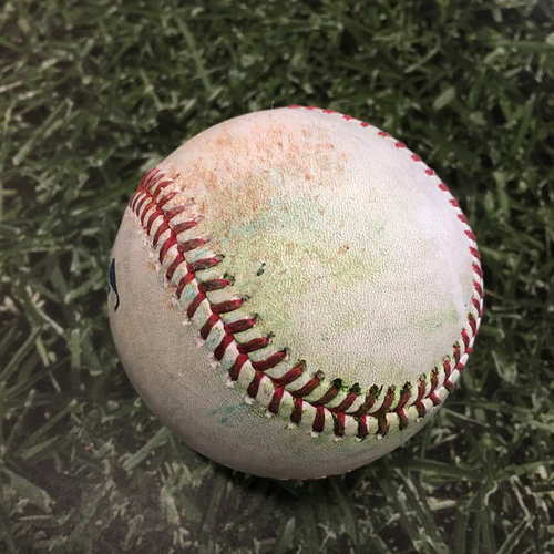 Photo of Game-Used Opening Day Baseball MIN@MIL 04/01/21 - Brandon Woodruff - Andrelton Simmons: Single