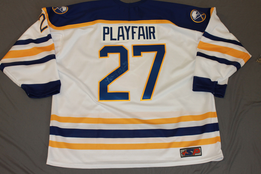 Larry Playfair Autographed Buffalo Sabres Breast Cancer Awareness Jersey