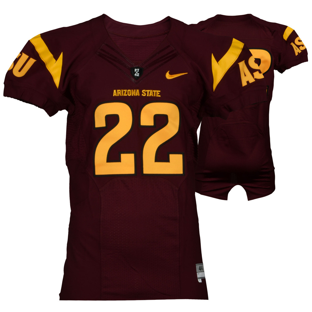 Arizona State Sun Devils Game-Used Maroon and Gold #22 Jersey Used During the 2011-2014 Seasons - Size 44