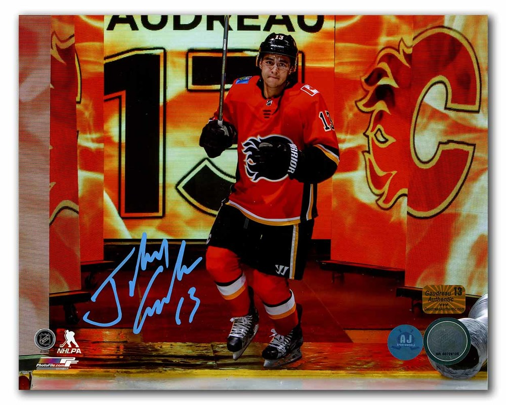 Johnny Gaudreau Calgary Flames Autographed Saddledome Fire Intro 8x10 Photo