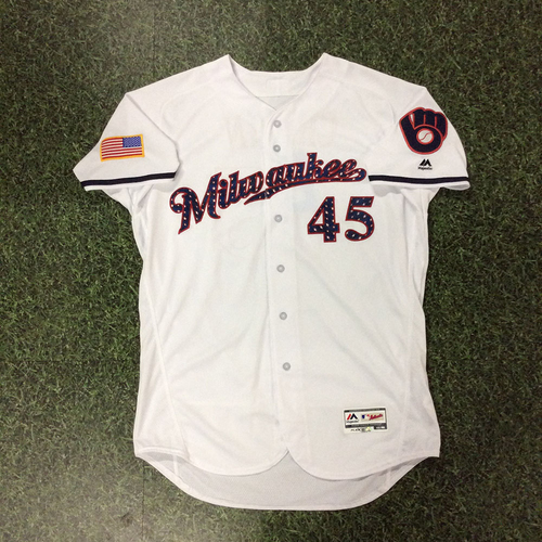 Photo of Jhoulys Chacin Game-Used 2018 Stars & Stripes Jersey