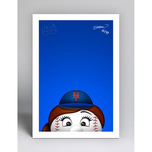 Photo of Mrs. Met - Limited Edition Minimalist Mascot Art Print by S. Preston  - New York Mets