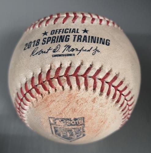 Photo of Authenticated Game Used Baseball - Strikeout by Luke Weaver against Steve Pearce (Mar 27, 18 vs STL). Bottom 2. Spring Training in Montreal.
