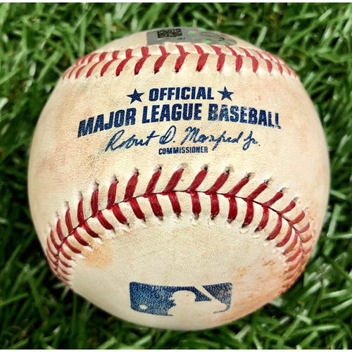 Photo of Game Used Baseball: Kevin Kiermaier single and Travis d'Arnaud ball-in-dirt against Jose Suarez - June 15, 2019 v LAA