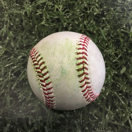 Photo of Game-Used Opening Day Baseball MIN@MIL 04/01/21 - Brandon Woodruff - Luis Arraez: RBI Single