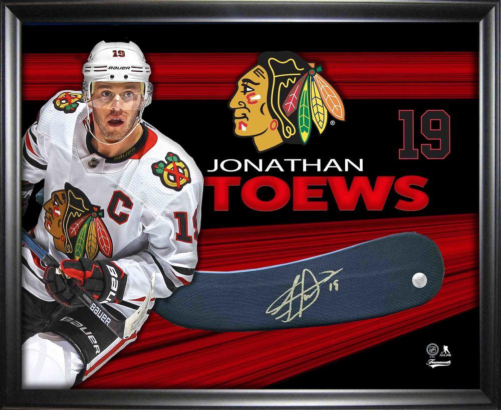 Jonathan Toews Signed Stickblade Framed PhotoGlass Blackhawks