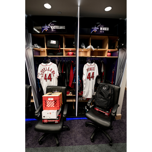 Photo of 2021 All-Star Game Clubhouse Chair Panel from Jesse Winker's Locker Chair