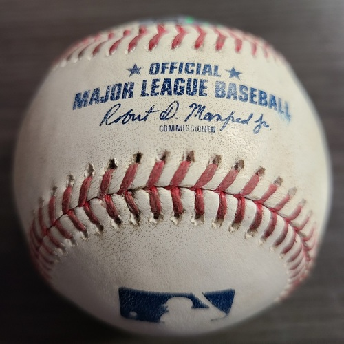 Photo of Authenticated Game Used Baseball: Strikeout by Hyun Jin Ryu against Bobby Dalbec (Aug 8, 2021 vs BOS). Top 3.