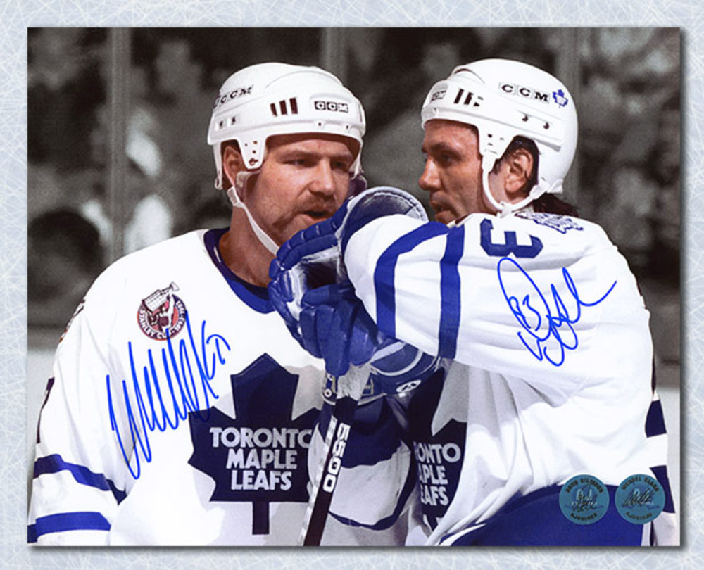 Doug Gilmour & Wendel Clark Toronto Maple Leafs Dual Signed Spotlight 8x10 Photo