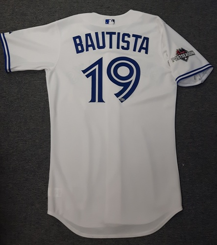 Authenticated Team Issued 2015 Postseason Jersey - #19 Jose Bautista (Postseason with Bat Flip)