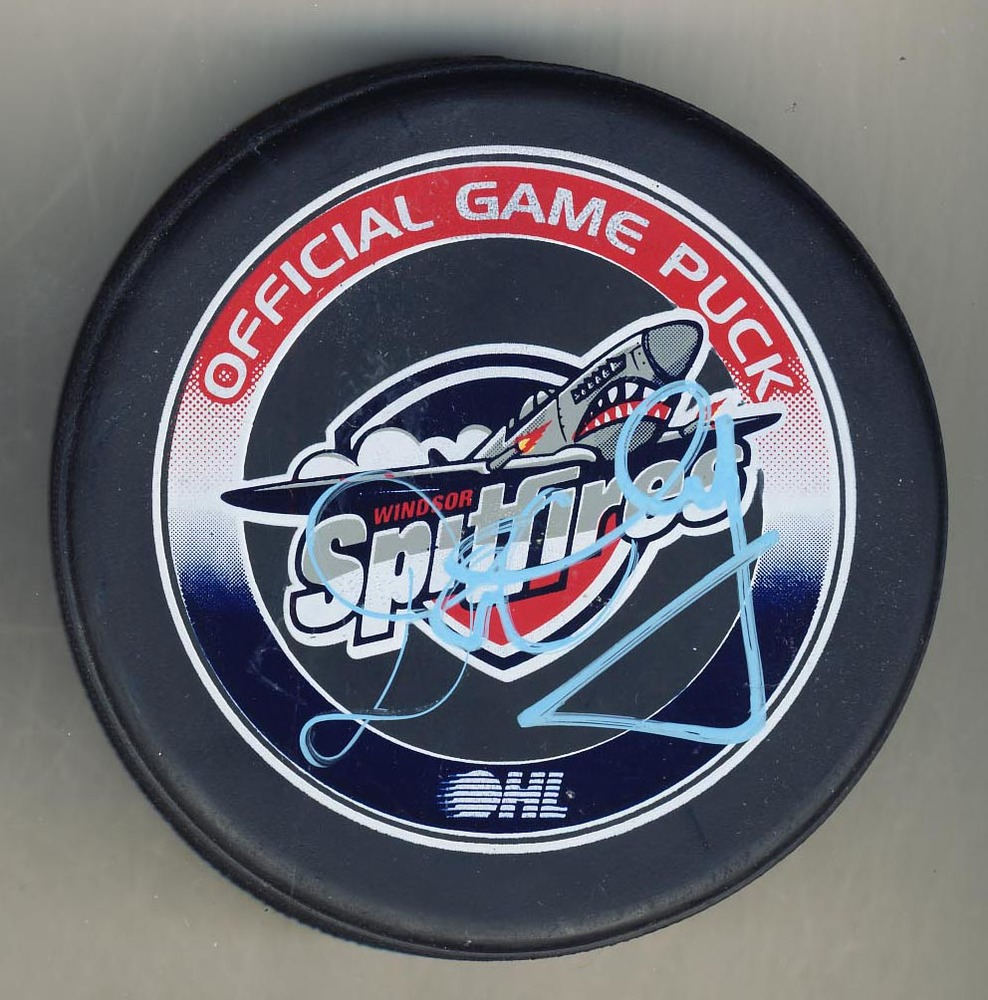 Don Cherry Autographed Windsor Spitfires CHL Official Game Puck *Autograph Slightly Streaky*
