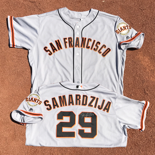 Photo of San Francisco Giants - Game-Used Autographed Jersey - Jeff Samardzija - Worn on 9/23/16 - Jersey Size - 52