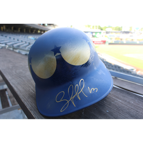 Game-Used and Autographed Turn Ahead The Clock Batting Helmet: Salvador Perez (Size 7 3/4 - Innings 3, 5 & 7 - KC @ SEA - 6/30/18)