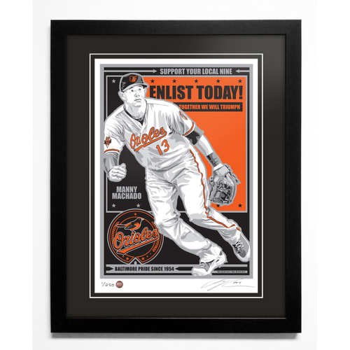 Photo of Manny Machado Baltimore Orioles Handmade Serigraph, Edition #1, Signed by Artist & Framed