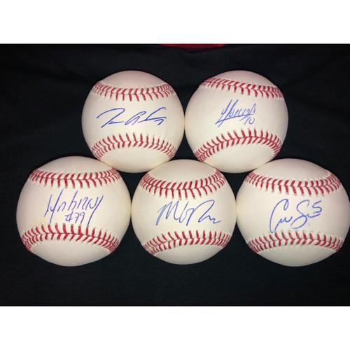 Photo of The Infield: Jose Abreu, Tim Anderson, Yoan Moncada, Yolmer Sanchez, Matt Davidson Autographed Baseballs