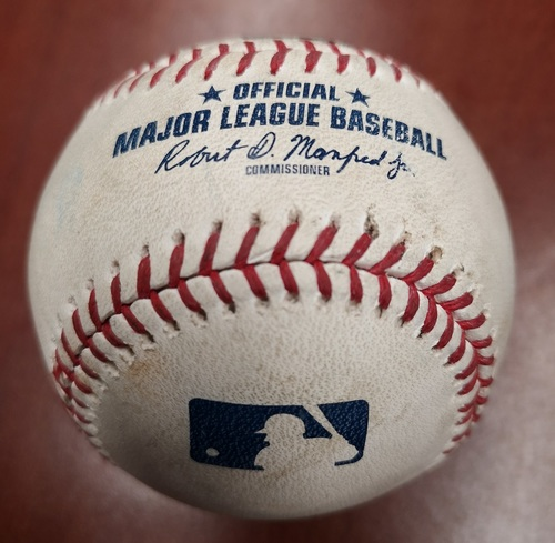 Photo of Authenticated Game Used Baseball - Daniel Hudson strikes out Leury Garcia (May 10, 2019 vs CWS). Top 1.