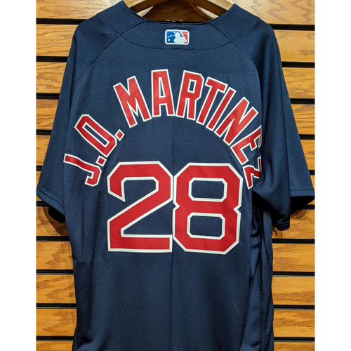 Photo of J.D. Martinez #28 Team Issued Navy Road Alternate Jersey