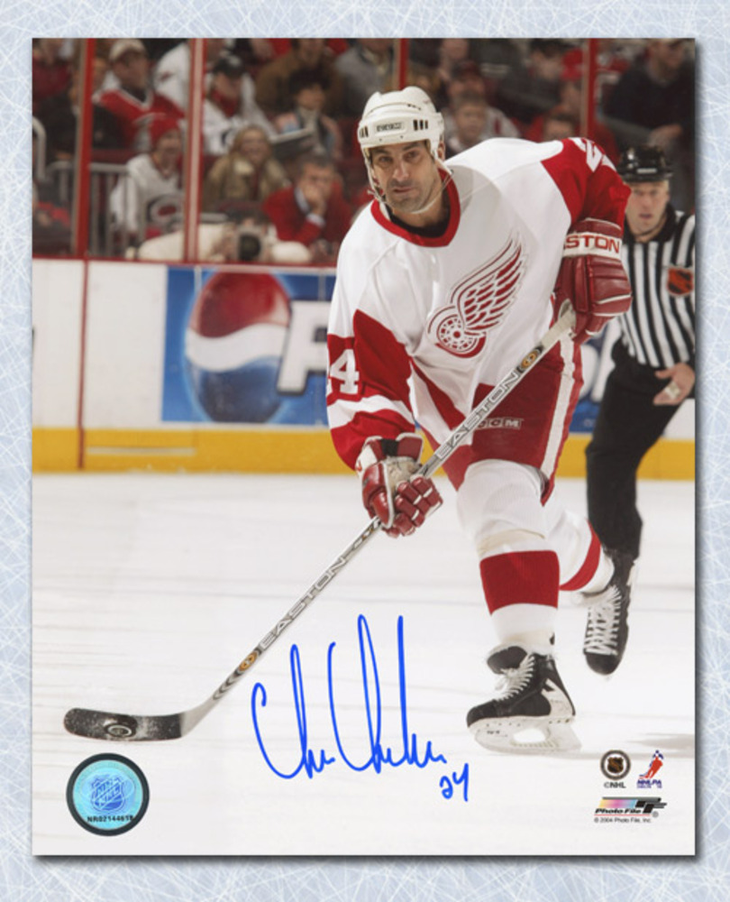 Chris Chelios Detroit Red Wings Autographed Hockey Action 8x10 Photo