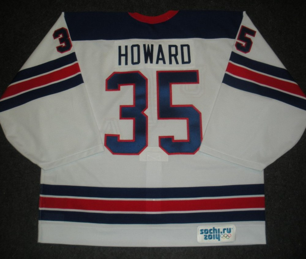 Jimmy Howard - Sochi 2014 - Winter Olympic Games - Team USA Throwback Game-Worn Backup-Only Jersey - Worn in Warmups and 1st Period vs. Slovenia, 2/16/14